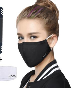 mondmasker / mondkapje herbruikbaar – zwart - 2 extra filters