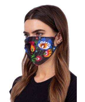 Wasbaar geprofileerd gezichtsmasker - folklore zwart