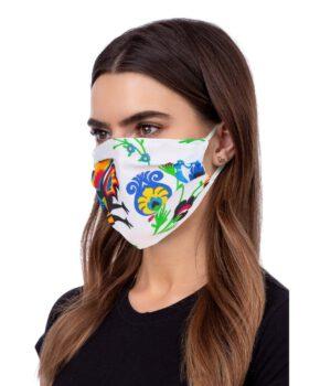 Wasbaar geprofileerd gezichtsmasker - wit met figuren