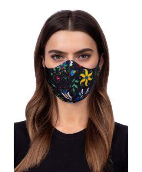 Wasbaar geprofileerd gezichtsmasker - folklore model 2 - zwart