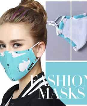Katoenen fashion Gezichtsmasker met oorlussen - groen -wasbaar