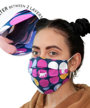 Dubbellaags streetwear masker met filterzak + 3 filters stippen