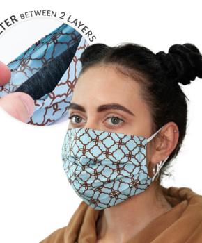 Dubbellaags streetwear masker met filterzak + 3 filters monogram