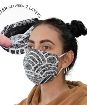 Dubbellaags streetwear masker met filterzak + 3 filters zwart/wit