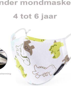 Perfect fit PM 2.5 kinder gezichtsmasker wasbaar mondmasker - dino