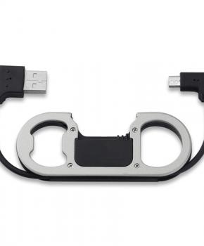 Micro USB-sleutelhanger met oplader Datakabel - Flesopener - zilver