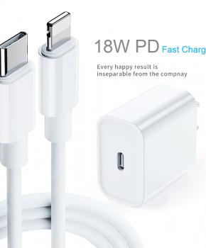 18 watt PD snellader type usb C  -wit + USB-C naar USB-C kabel