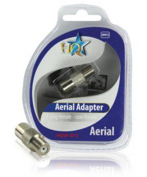 HQ coax adapter F/C plug vrouwelijk naar coax vrouwelijk