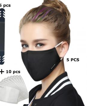 5 pack mondmasker - fashion mondkapje  zwart - compleet