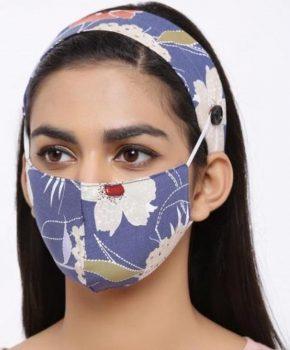 Fashion katoenen mondkapje met haarband - bloemen blauw