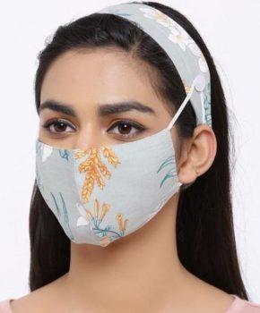 Fashion katoenen mondkapje met haarband - bloemen groen