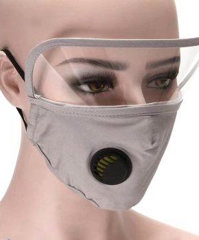 Mondmasker - mondkapje met oogbescherming / spatscherm - grijs