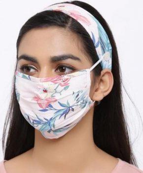Fashion katoenen mondkapje met haarband - bloemen roze