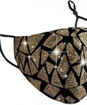 Wasbaar mondkapje katoen met glitters - goud + 10 filters