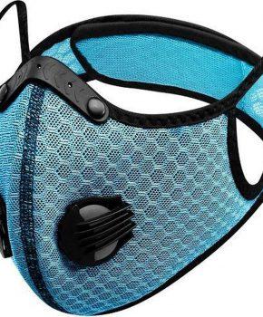 Sportief masker met actieve koolstof filter - 2 ademventielen - licht blauw
