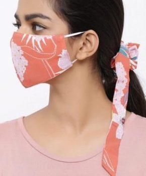 Fashion wasbaar katoenen tiener mondkapje met Scrunchie - bloemen oranje