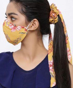 Fashion wasbaar katoenen kinder mondkapje met Scrunchie - bloemen geel