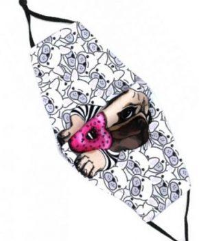 Fashion wasbaar katoenen mondmasker - mondkapje - Donut Dog