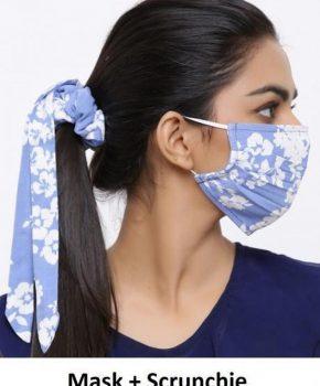 Fashion katoenen mondkapje met Scrunchie - bloemen blauw
