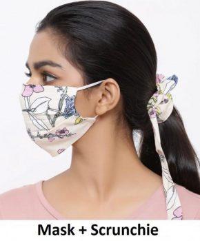 Fashion katoenen mondkapje met Scrunchie - bloemen beige
