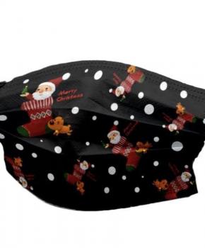 3 laags mondmasker - wegwerp - kerst - Merry Christmas - zwart - 10 stuks