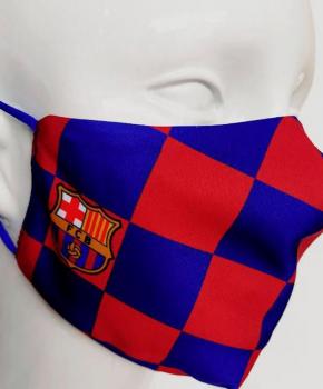 Barcelona mondmasker geblokt volwassen - blauw - met licentie