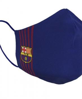 Barcelona mondmasker gestreept volwassen - blauw - met licentie