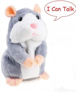 Pratende hamster - knuffel - educatie - 15 CM - grijs