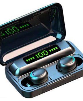 s10 -  draadloze headset BT 5.1 met lcd en powerbank - zwart