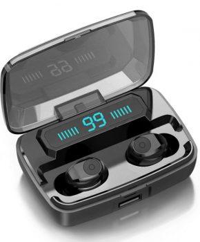 draadloze headset BT 5.0 met lcd en powerbank - zwart