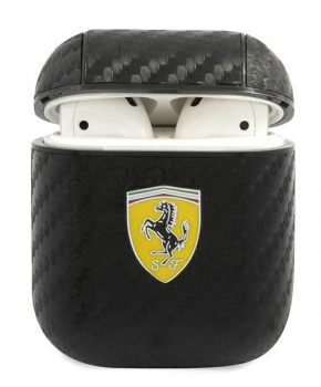 Ferrari  AirPods 1 / 2 case  zwart - On Track - PU Carbon