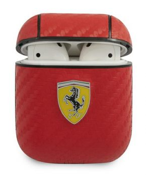 Ferrari AirPod 1/2 hoes rood - On Track - PU Carbon