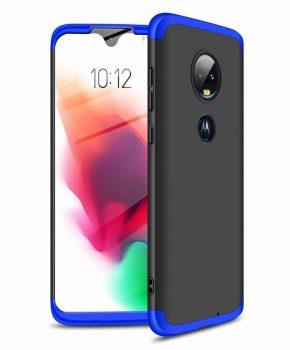 360 graden full body hoesje voor Motorola Moto G7 - zwart / blauw