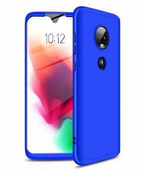 360 graden full body hoesje voor Motorola Moto G7 - blauw