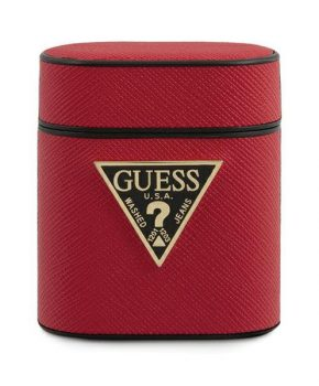 Guess AirPods 1/2 cover rood - Saffiano collectie