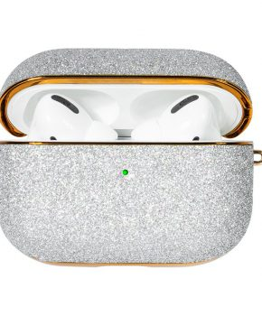 Kingxbar Bling shiny glitter case voor AirPods Pro - zilver