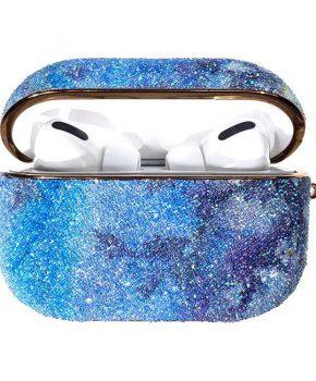 Kingxbar Bling regenboog shiny glitter case voor AirPods Pro - blauw