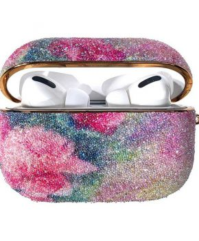 Kingxbar Bling regenboog shiny glitter case voor AirPods Pro - roze