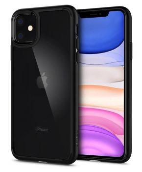 """Spigen Ultra Hybrid voor Iphone 11 6.1"""" mat zwart"""