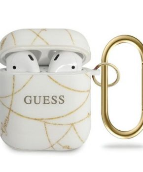 GUESS AirPods 1 & 2 Hoesje - Gold Chain Collection - Wit