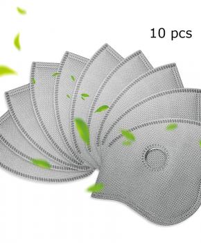 10 stuks 2.5 pm actieve carbon filters voor sportmaskers - grijs