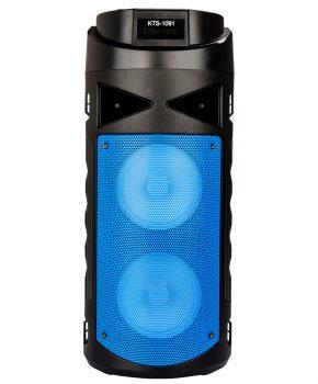 2 speaker bluetooth luidspreker met led - blauw - oplaadbaar