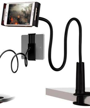Flexibele zwanenhals smartphone / tablethouder - zwart - 70 cm