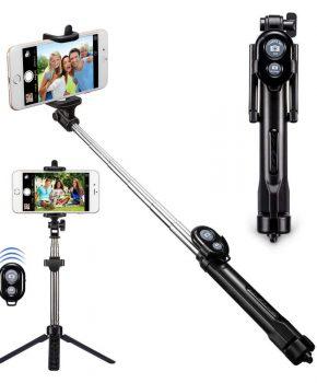 Selfie stick set en tripod statief met afstandsbediening - zwart