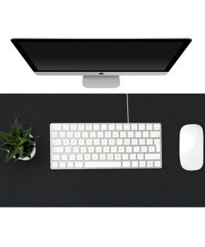 Eco lederen bureau mat XL - 90x45cm - zwart - waterafstotend
