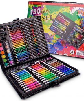 150 Delige Deluxe Art Set voor kinderen - potloden verf wasco - roze