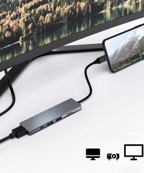 6 in 1 USB-C multifunctionele 3.1 hub voor macbook met kaartlezer