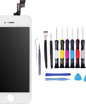 Voor iPhone 5s Scherm wit -  met 16-delig professionele reparatiekit