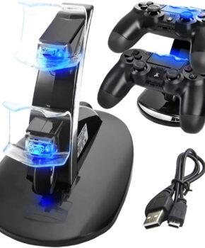 Verticale dual docking station voor PS4 controllers - zwart