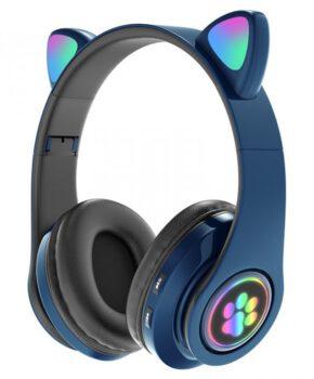 Draadloze kinder bluetooth 5.0 hoofdtelefoon cat-ear pv33 - blauw